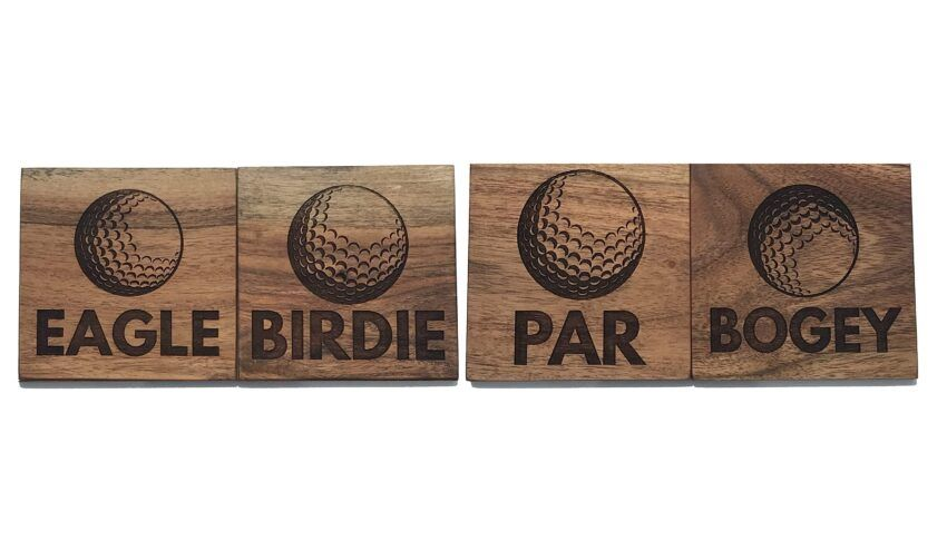 Wood Golf Caosters With Border